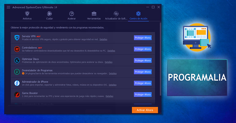 Descargar-gratis-Advanced-SystemCare-Ultimate-Protección-de-seguridad-Centro-de-acción